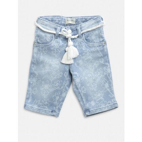 Gini and Jony Girls Blue Washed & Printed Regular Fit Denim Shorts