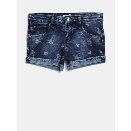 Gini and Jony Girls Navy Blue Printed Regular Fit Denim Shorts