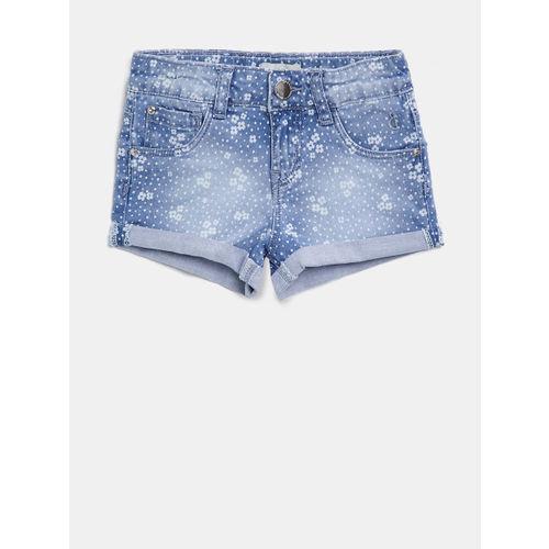 Gini and Jony Girls Blue Printed Denim Shorts