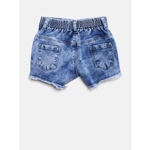 Gini and Jony Girls Blue Denim Printed Faded Shorts