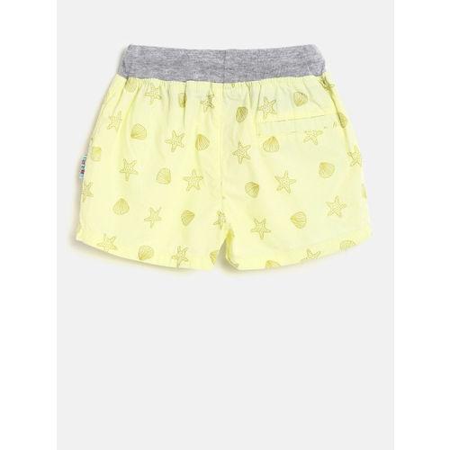 Gini and Jony Girls Yellow Printed Regular Fit Shorts