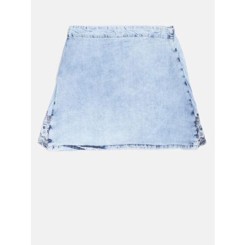 Gini and Jony Girls Blue Layered Washed Chambray A-Line Skirt