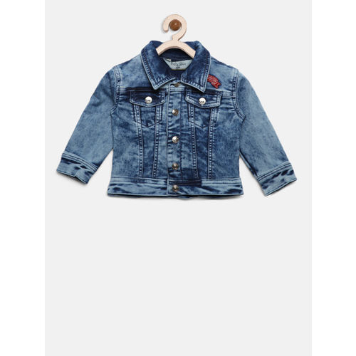 Gini and Jony Girls Blue Solid Denim Jacket