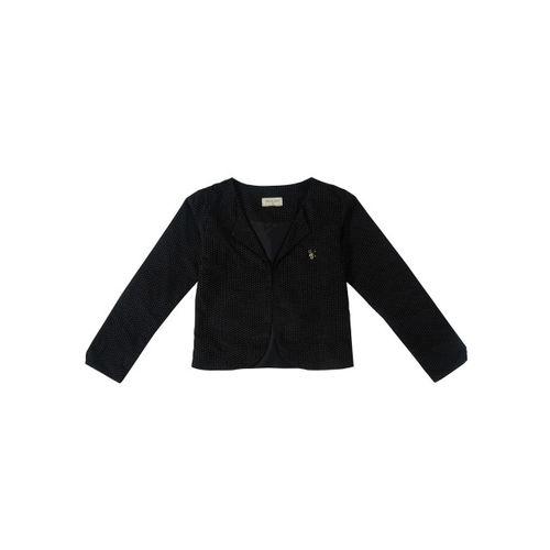 Gini and Jony Girls Black Printed Tailored Jacket