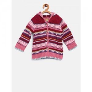 Gini and Jony Girls Multicoloured Striped Hooded Cardigan