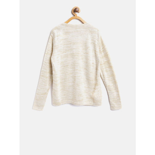 Gini and Jony Girls Beige & Golden Self-Design Front-Open Cardigan