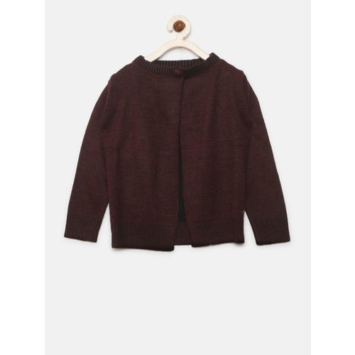 Gini and Jony Girls Burgundy Solid Front-Open Cardigan