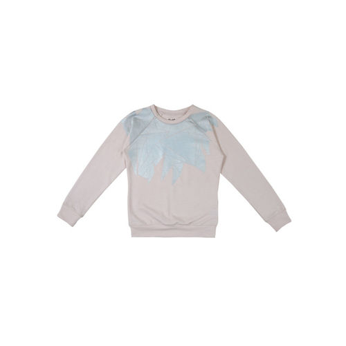 Gini and Jony Girls Peach-Coloured Printed Sweatshirt