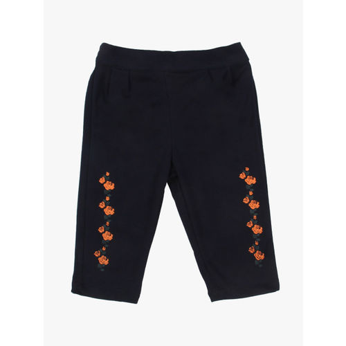 Gini and Jony Girls Orange & Navy Solid Top with Trousers
