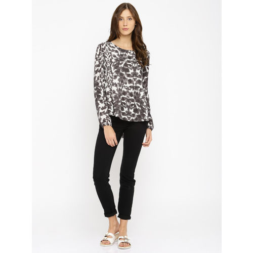 ONLY Women Black & White Printed Peplum Top