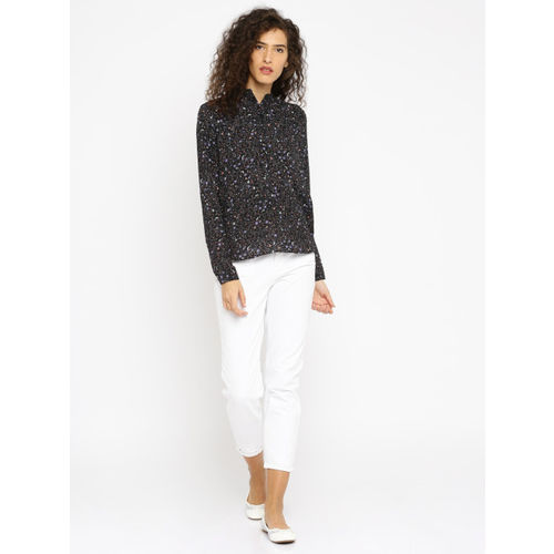 ONLY Women Black Printed Shirt-Style Top