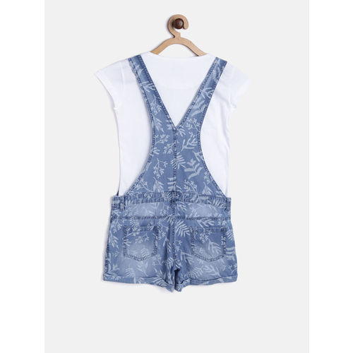 Gini and Jony Girls Blue & White Printed Dungarees with T-shirt