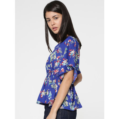 ONLY Women Blue Printed Cinched Waist Top