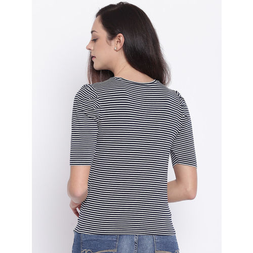 ONLY Women Navy Blue Striped Top