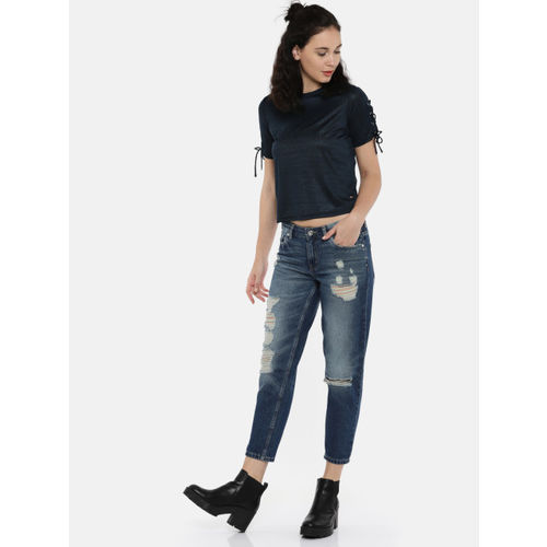 ONLY Women Navy Blue Solid Top