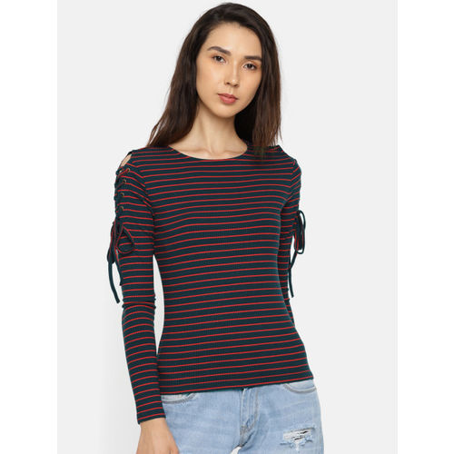 ONLY Women Navy Blue & Red Striped Top