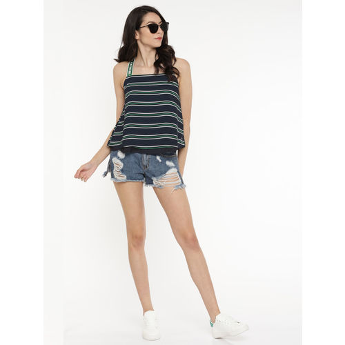 ONLY Women Navy Blue & Green Striped Styled Back Top
