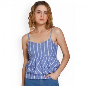 ONLY Women Blue & White Striped Top