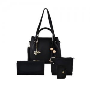 LaFille Pack of 4 Black Solid Handbags