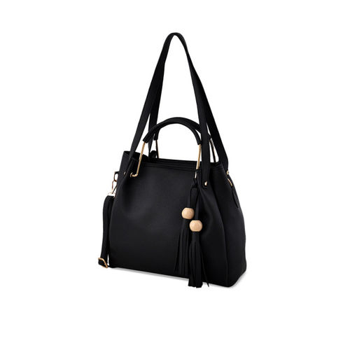 LaFille Pack of 4 Black Solid Handbags