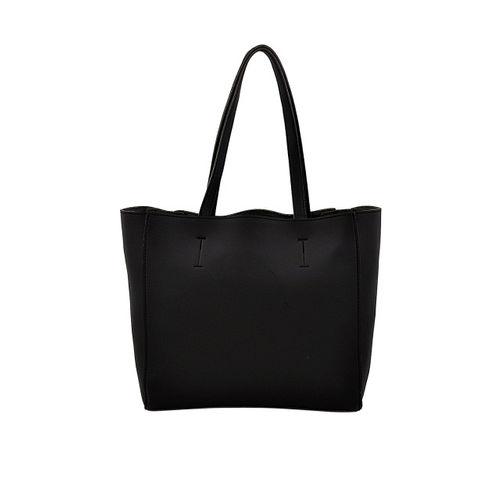 LaFille Black Solid Set of 2 Handbags