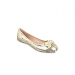 Flat n Heels Women Gold-Toned Solid Synthetic Ballerinas