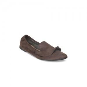 Flat n Heels Women Brown Solid Suede Ballerinas