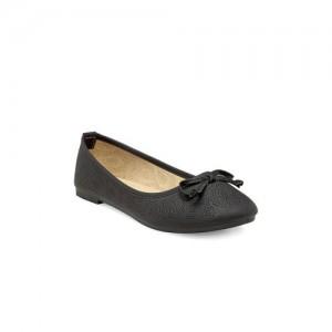 Flat n Heels Women Black Solid Ballerinas