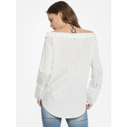 ONLY Women White Striped Shirt Style Top