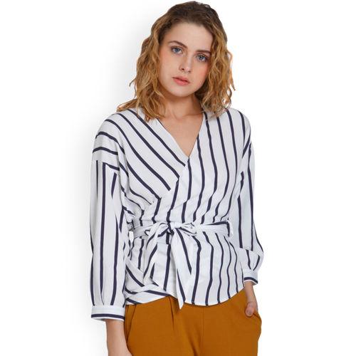 188a1448cb660 Buy ONLY Women White Striped Wrap Top online