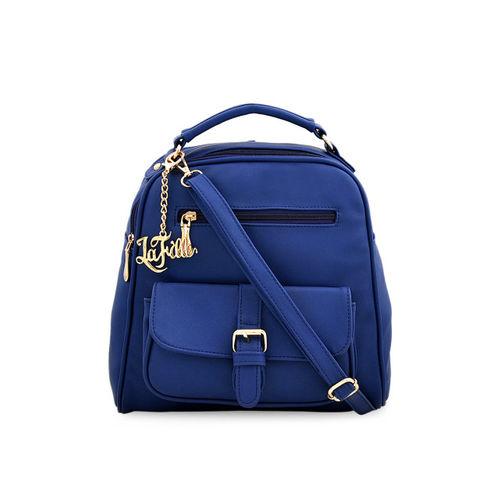 LaFille Blue Solid Handheld Bag