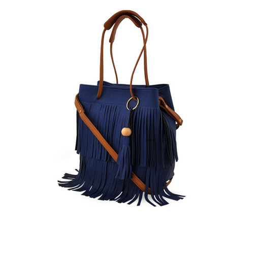 LaFille Blue Textured Handheld Bag with 2 Pouches