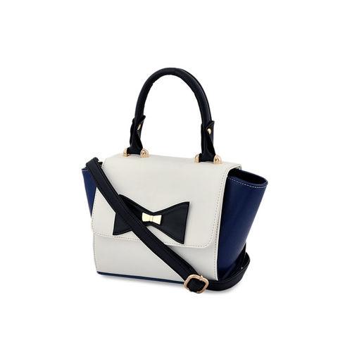 LaFille Blue & White Colourblocked Handheld Bag