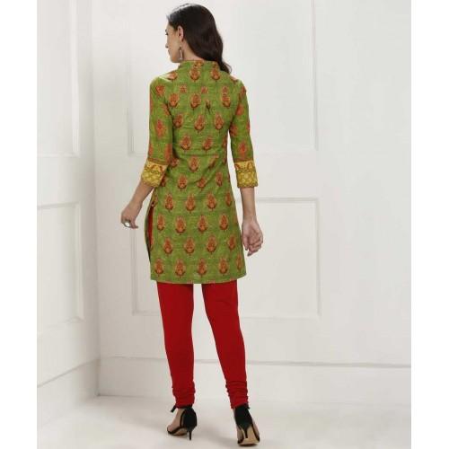 Biba Women's Printed Straight Kurta(Green)