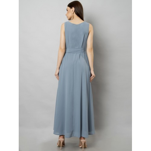 FabAlley Women Grey Solid Fit and Flare Dress