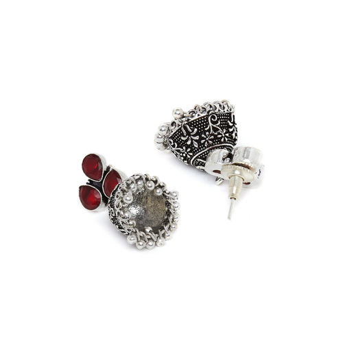 ZeroKaata Silver-Plated Handcrafted Dome Shaped Jhumkas