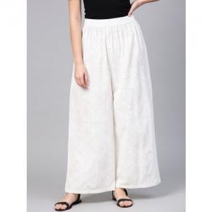 aasi Women White Wide Leg Printed Palazzos