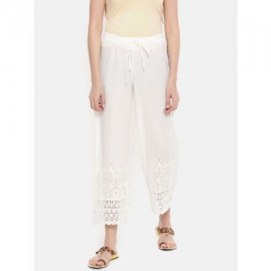 Melange by Lifestyle Women White Straight Self Design Palazzos