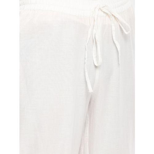 Melange by Lifestyle Women White Straight Self Design Palazzos