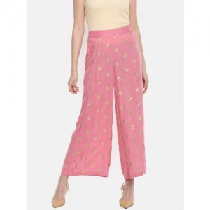 Melange by Lifestyle Women Pink Printed Wide Leg Palazzos