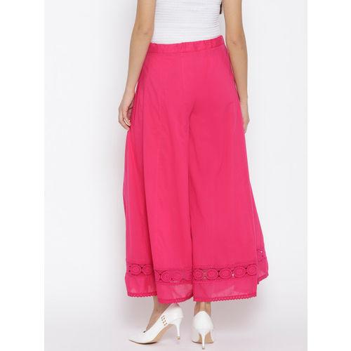 Biba Women Pink Flared Hem Design Palazzos