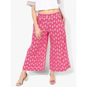 Sangria Women Pink & Off-White Printed Wide Leg Palazzos