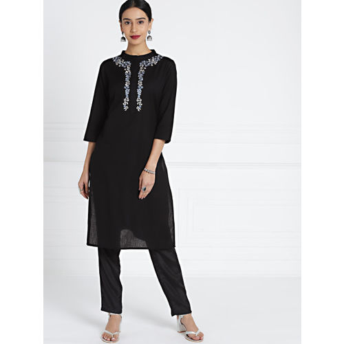 all about you Women Black Solid A-Line Kurta