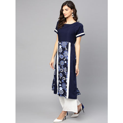 Ives Women Navy Blue & White Printed Straight Kurta