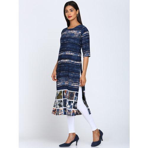 1e74b2dc80 Buy Soch Women Navy Blue Printed Straight Kurta online | Looksgud.in