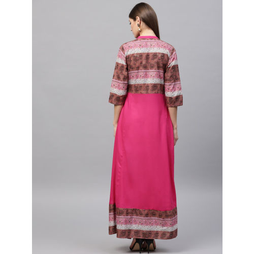 Shree Women Pink Printed A-Line Kurta