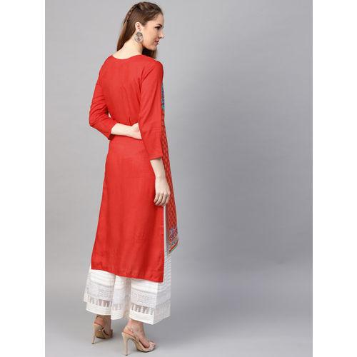 RARE ROOTS Women Red & Yellow Printed Straight Kurta