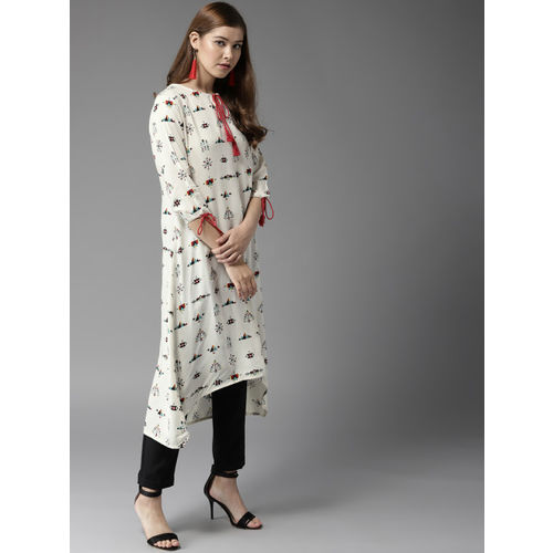 HERE&NOW Women White & Black Printed A-Line Kurta