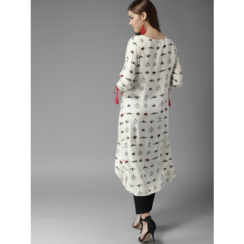 HERE&NOW Women White & Black Printed A-Line Kurta