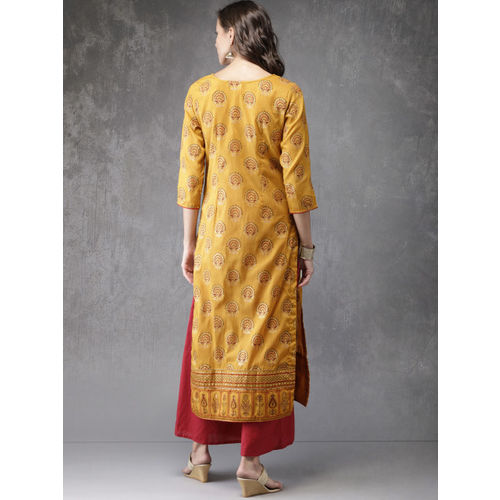 Anouk Women Mustard Yellow Printed Straight Kurta